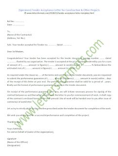 construction tender acceptance letter sample