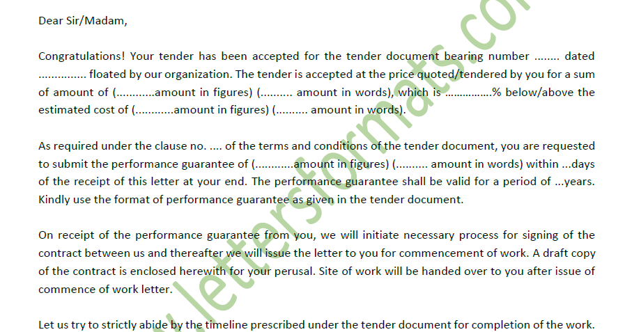 Tender Acceptance Letter for Construction & Other Projects