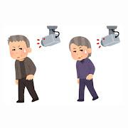 いろいろな防犯カメラを気にする人のイラスト(お年寄り)