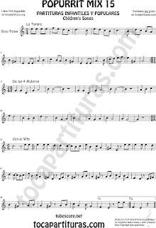 Partitura de Saxo Tenor Popurrí 15 La Tarara, De los 4 Muleros y Con el Vito Sheet Music for Tenor Saxophone Music Scores