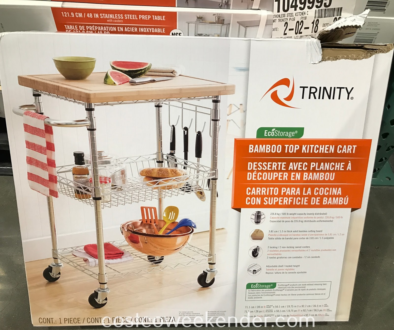Costco 1049997 - Get extra counter space in your kitchen with the Trinity Bamboo Top Kitchen Cart