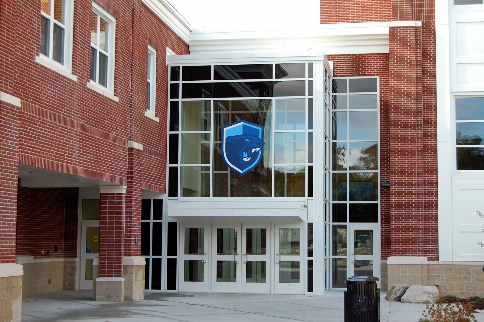 community entrance to Franklin High School, gymnasium located on the left inside the doors