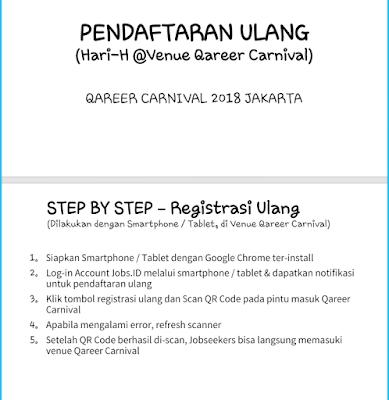 Langkah-langkah registrasi ulang di Qareer Carnival 2018