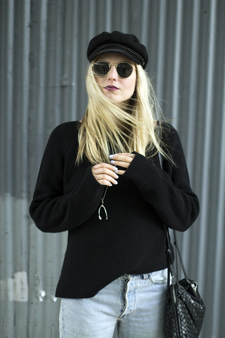 Heleneisfor - Everlane sweater, Levis vintage 501 button fly, Loeffler Randall Greer bootie, Brixton fiddler hat , Ray-Ban Lennon sunglasses, NARS LaPaz lipstick, VERAMEAT wishbone necklace, Static hard as stone nails