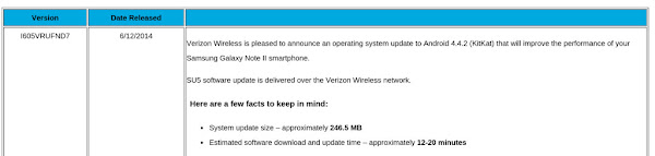 Samsung Galaxy Note II for Verizon receives Android 4.4 KitKat