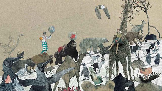 Ilustración interior del libro La Pregunta del Elefante realizada por la ilustradora belga Kaatje Vermeire