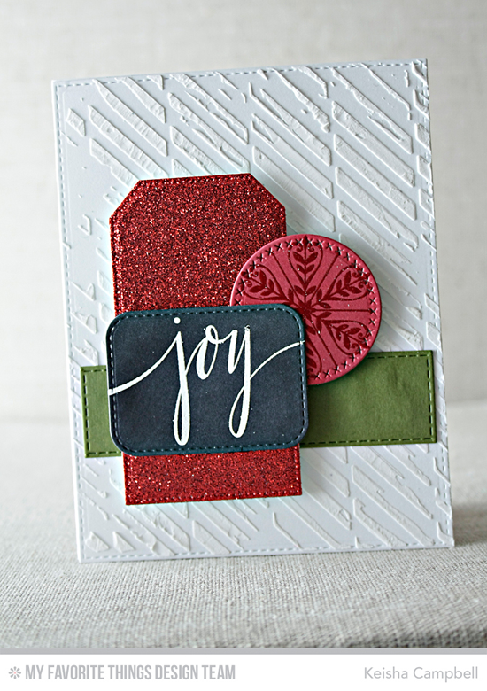 Handmade card from Keisha Campbell featuring Hand Lettered Holiday and Simply Snowflakes stamp sets and Pierced Traditional Tag STAX, Stitched Rounded Rectangle STAX, Cross-Stitch Circle STAX, and Horizontal Stitched Strips Die-namics #mftstamps