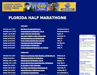 Half Marathon Calendar.Florida Half Marathons Blog