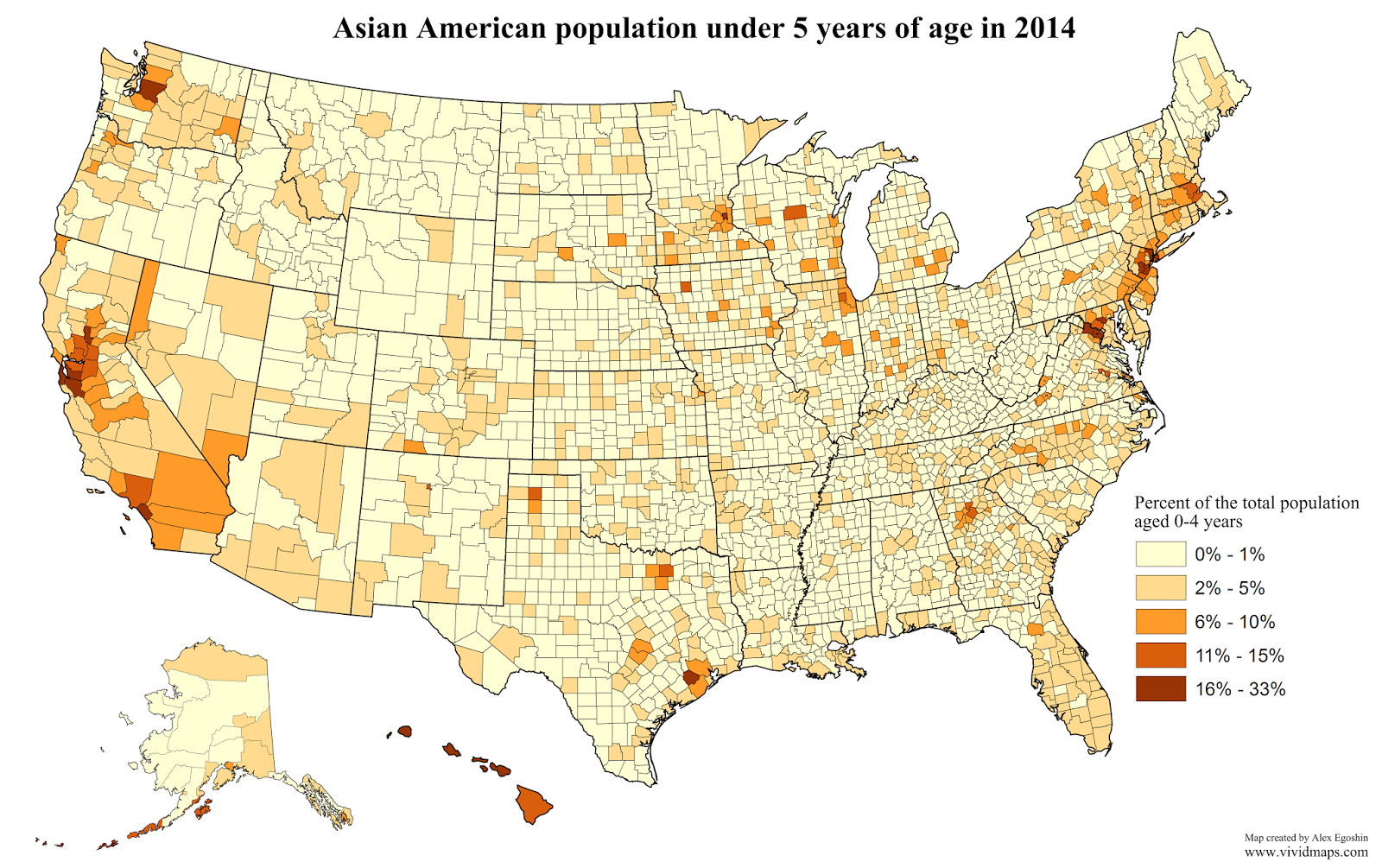 Asian American population under 5 years of age in 2014