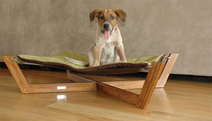 A Hip Eco-Friendly Hammock For Dogs (or cats) From Pet Lounge Studios.