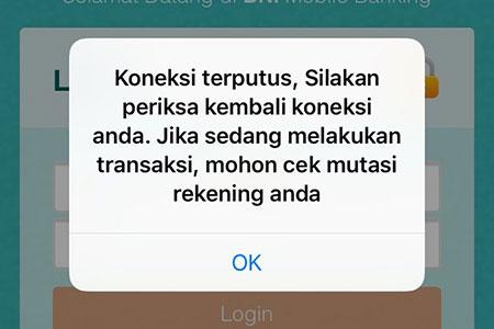 Solusi Koneksi Terputus Aplikasi BNI Mobile Banking