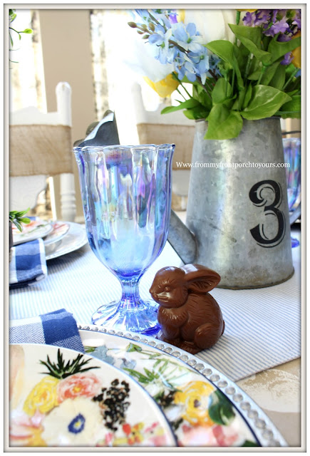 Spring-Easter-Tablescape-Cottage-Farmhouse-Pioneer Woman-Luster Blue-Pearlized-Goblet-Faux-Chocolate Bunny-From My Front Porch To Yours