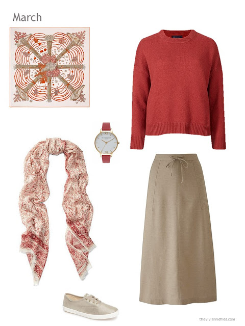 red and light brown skirt outfit with scarf, watch and canvas shoes