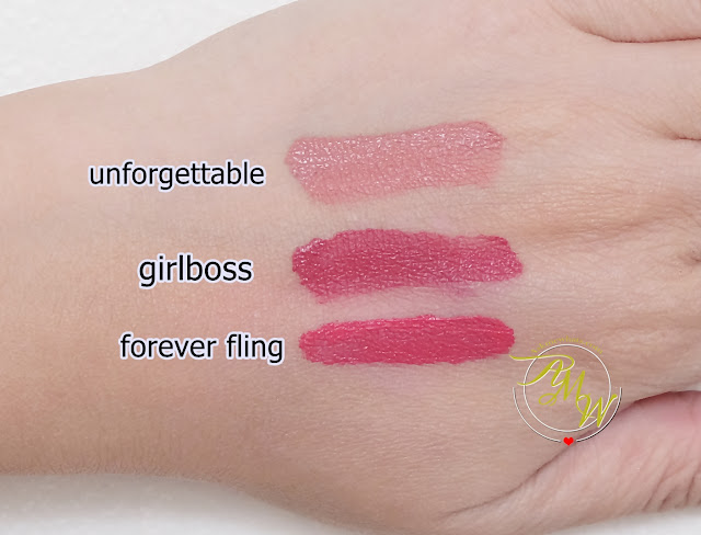 a swatch photo of Pink Sugar Sugar Tint Lip & Cheek Tint review in shades Unforgettable, GirlBoss and Forever Fling by Nikki Tiu of www.askmewhats.com