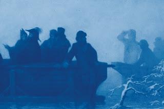 uitsnede Schaatsenrijders wijzen koning Willem III de weg tijdens de watersnood in de Bommelerwaard, 1861. Bron: Rijksmuseum. Illustratie in: De watersnoodmedaille in het Koninkrijk der Nederlanden: fotoatlas
