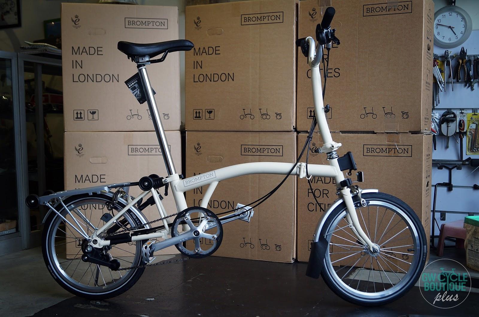 GW Cycle Boutique Brompton M6R Ivory Colour Folding Bike