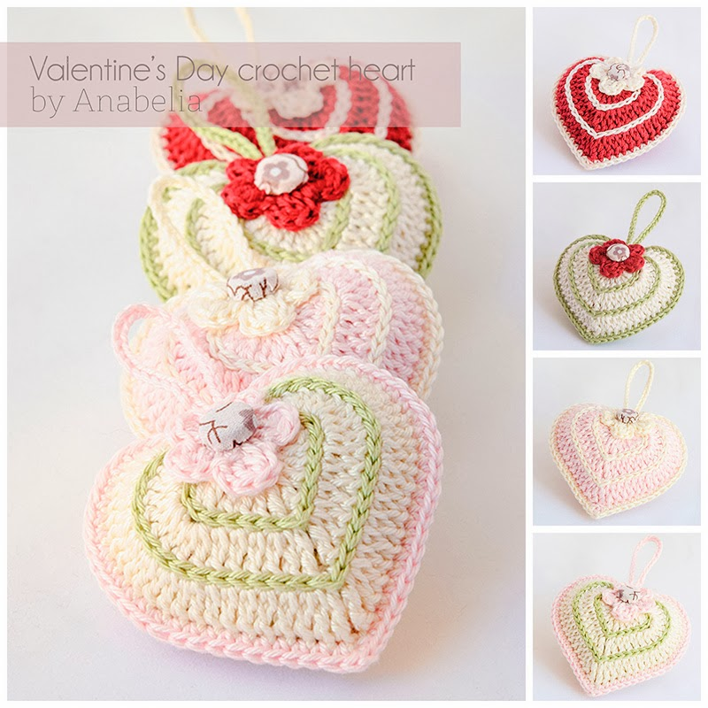 Anabelia craft design: Valentine\'s Day crochet heart with chart