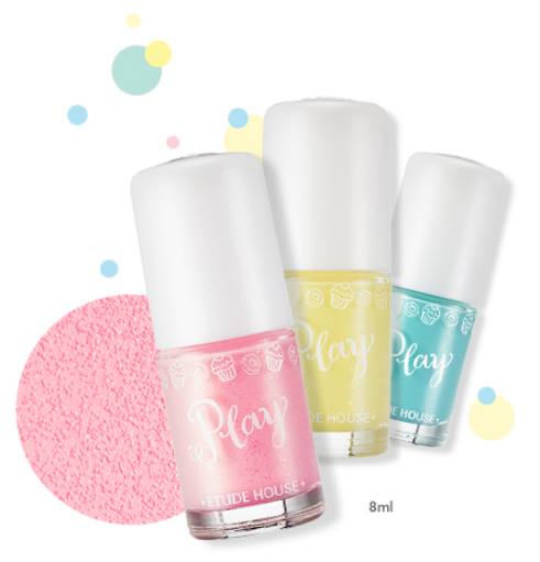 Etude House Sugar Powder Play Nails nail polishes with sand texture
