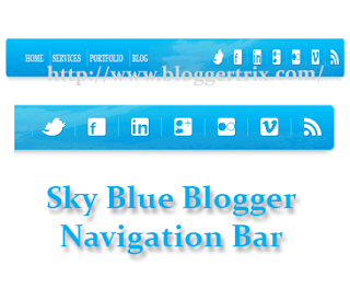 Because it helps visitors to navigate our website too brand tardily to Sky Blue Blogger Navigation Bar With Social Icons