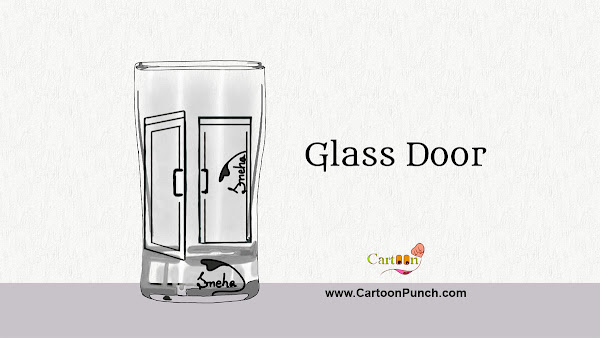 Glass door cartoon illustration