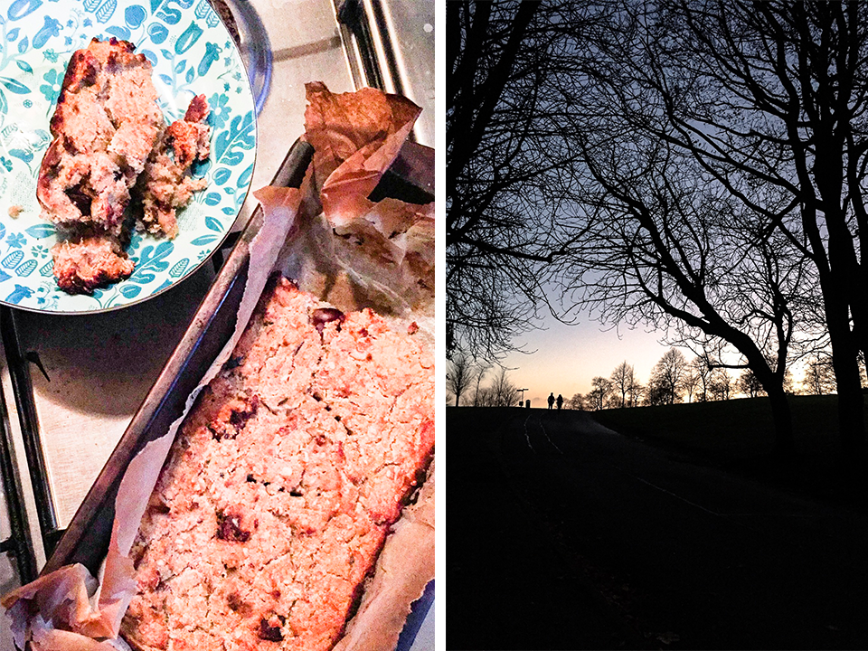 healthy-banana-bread-park-view-with-silhouettes