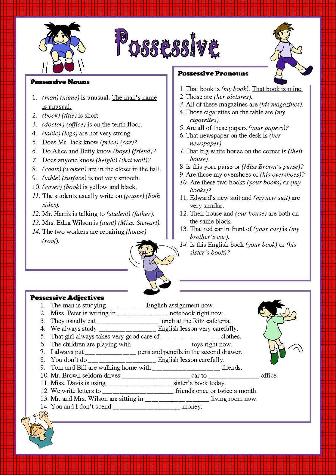 Possessive Pronouns Worksheet Printable