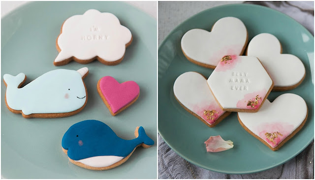 honeywell bakes watercolour heart biscuits and narwhal biscuits