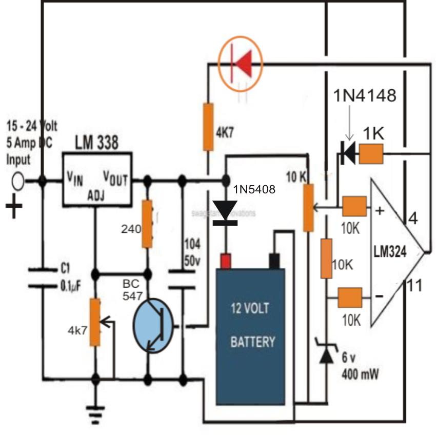 how to build an automatic 6 volt, 12 volt, 24 volt lead acid battery charger circuit - skema ... apc ups circuit diagram