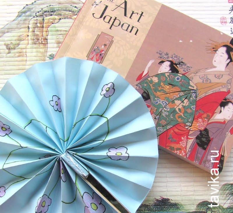 японский веер из бумаги - детская поделка