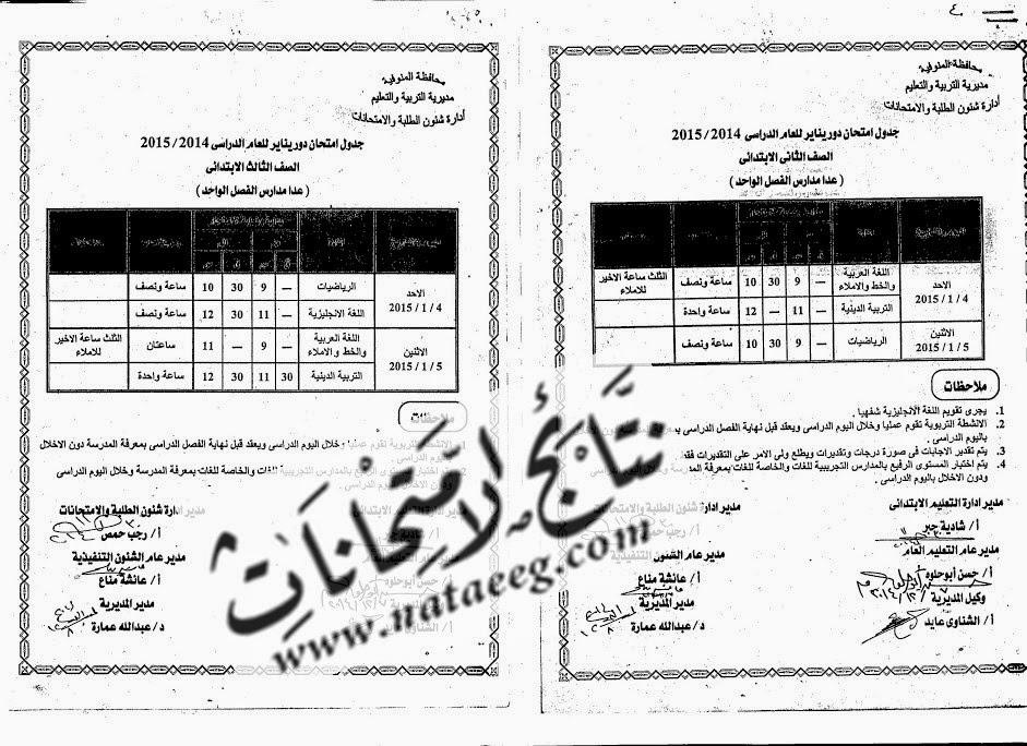 شاهد الان جدول امتحانات الشهادة الابتدائيه 2015 الترم الاول بالمنوفيه