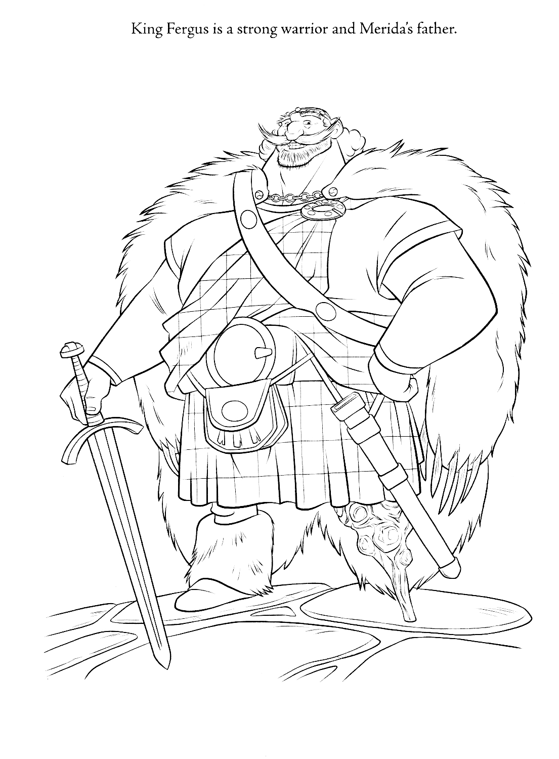 King Fergus Merida Father Brave Coloring Pages