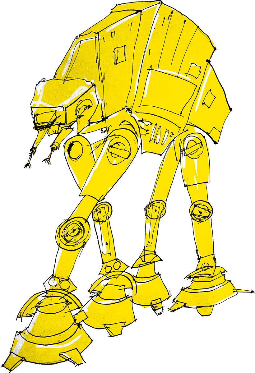 Star Wars AT-AT Stupid cartoons - the original drawing as well as a digitally inked sketch