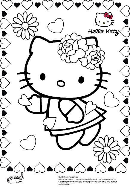 Hello Kitty Valentine Coloring Pages  Coloring