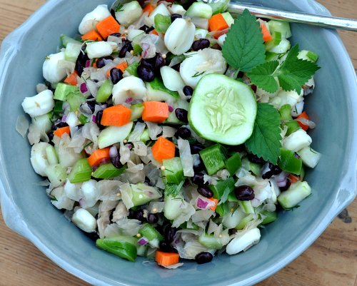 New-Fashioned Sauerkraut Salad, another healthy salad ♥ KitchenParade.com, a classic sauerkraut salad, lightened and brightened with vegetables, hominy and black beans. Vegan. Gluten Free. Weight Watchers Friendly.