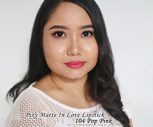 FOTD Pixy Matte In Love Lipstick 104 Pop Pink