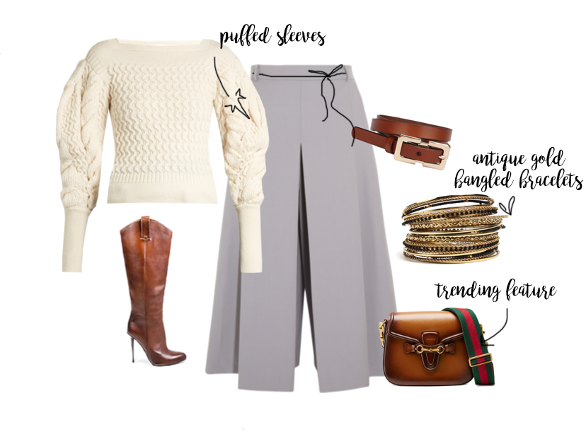puffer sleeves ivory top grey pants cognac tom ford boots hand painted bags gucci thick straps