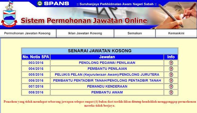 Jawatan Kosong Kerajaan Negeri Sabah Disember 2016
