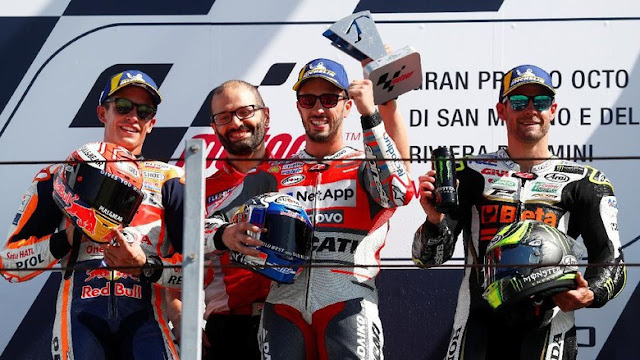 Klasemen MotoGP Usai Balapan di San Marino: Marquez Masih Teratas, Dovi Kedua