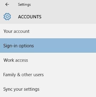 Cara menghilangkan atau menghapus password login Windows 10 melalui Sign-In Options di Accounts Settings
