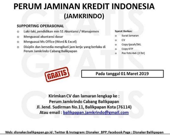 Lowongan Kerja Perum Jamkrindo Indonesia Via Disnaker Bpp Maret 2019