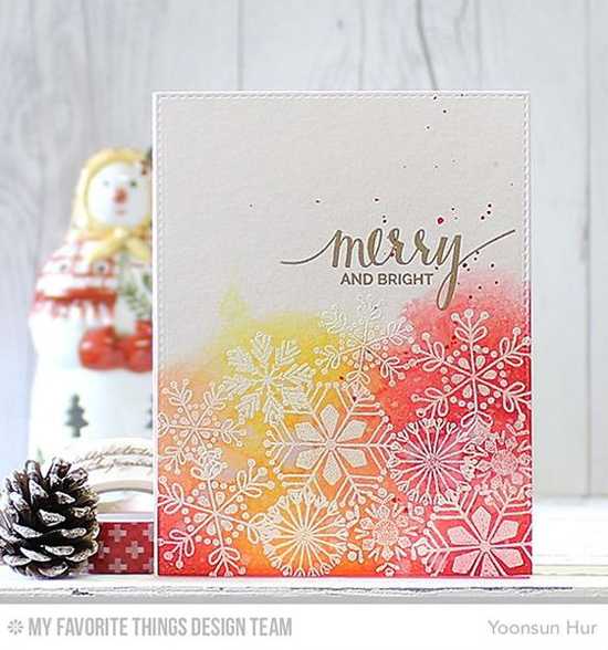 Handmade card from Yoonsun Hur featuring Hand Lettered Holiday and Snowflake Flurry stamp sets #mftstamps