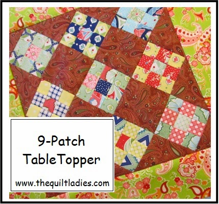 tutorial and quilt pattern for a 9-patch quilted table topper