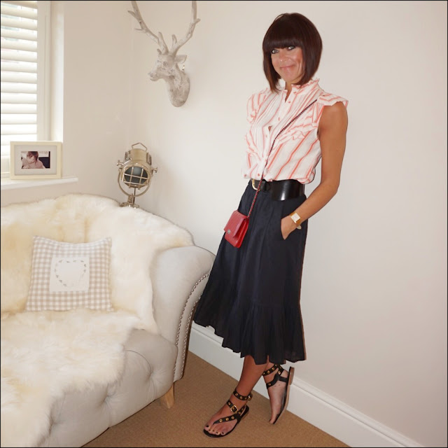 my midlife fashion, topshop stripe ruffle blouse, chanel wallet on chain, j crew dobby frill midi skirt, and other stories waist buckle belt, iro eyelet embellished leather sandals