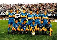 VALENCIA C. F. - Valencia, España - Temporada 1990-91 - Giner, Ochotorena, Penev, Roberto, Tomás y Fernando; Toni, Quique Flores, Eloy, Camarasa y Arias - C. D. CASTELLÓN 0, VALENCIA C. F. 2 (Quique y Fernando) - 10/02/1991 - Liga de 1ª División, jornada 22 - Castellón, estadio de Castalia - El Valencia se clasificó 7º en la Liga, con Víctor Espárrago de entrenador