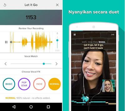 Tampilan aplikasi Sing! Karaoke by Smule
