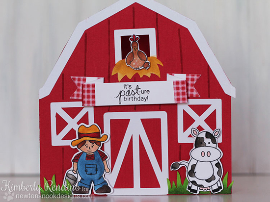Barn Shaped Card  by Kimberly Rendino | Farmyard Friends Stamp Set by Newton's Nook Designs
