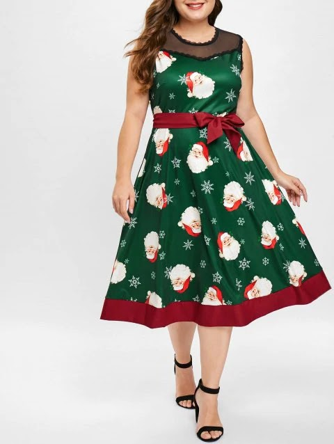 Plus Size Mesh Panel Christmas Santa Print Dress