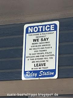 Schild an einer Tankstelle in den USA: Foto von unabh. Stampin' Up! Demonstratorin in Coburg