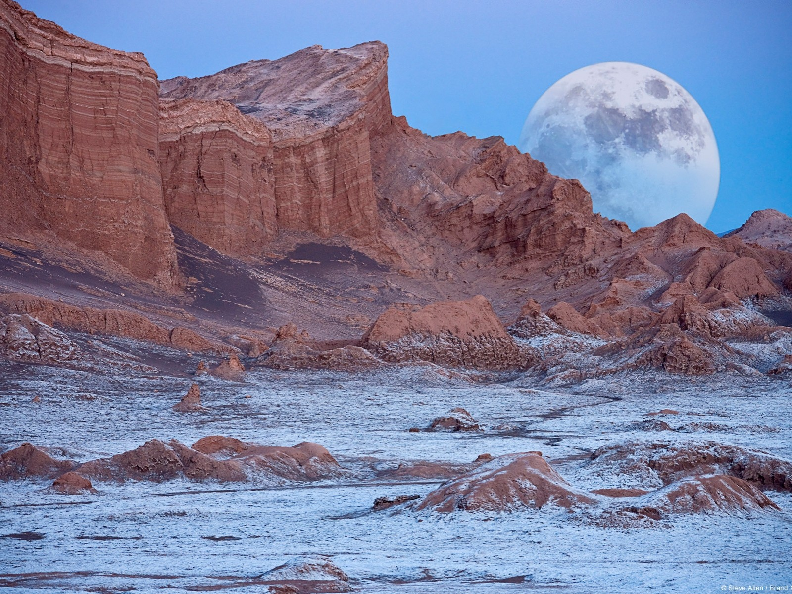Wind and water have eroded the sedimentary rocks in the Valley of the Moon.