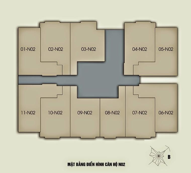 Mặt bằng căn hộ N02 chung cư New Horizon City